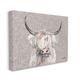 Grumpy White Buffalo on Floral Print 36x48 Canvas Wall Art