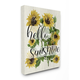 Vintage Painted Sunflowers with Hello Sunshine 16x20 Canvas Wall Art