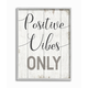 Positive Vibes Only Phrase 16x20 Gray Frame Wall Art