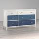Little Seeds Monarch Hill Poppy 6 Drawer Blue and White Dresser