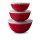 Tarhong Red Lidded Bowl Set (Set of 3)