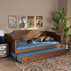 Baxton Studio Alya Classic Farmhouse Brown Wood Twin Size Daybed with Roll-Out Trundle Bed