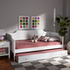 Baxton Studio Alya Classic Traditional Farmhouse White Wood Twin Size Daybed with Roll-Out Trundle Bed
