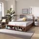 Baxton Studio Cosma Modern Transitional Ash Walnut Brown Finished Wood 4-Drawer Full Size Platform Storage Bed