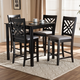 Caron Gray Fabric Upholstered Espresso Brown Finished 5-Piece Wood Pub Set