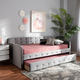 Baxton Studio Jona Transitional Grey Velvet Upholstered and Button Tufted Twin Size Daybed with Trundle