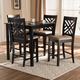 Caron Sand Fabric Upholstered Espresso Brown Finished 5-Piece Wood Pub Set