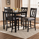 Reneau Gray Fabric Upholstered Espresso Brown Finished 5-Piece Wood Pub Set