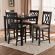 Reneau Sand Fabric Upholstered Espresso Brown Finished 5-Piece Wood Pub Set