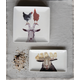 Creative Co-Op Stoneware Platter with Sheep & Chicks, Set of 4