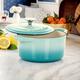 Crock-Pot Artisan 2 Piece 3 Quarts Enameled Cast Iron Dutch Oven in Aqua Blue