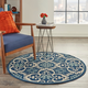 Nourison Caribbean 5' Round Navy Botanical Indoor/Outdoor Rug