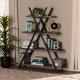 Baxton Studio Fiera 4-Tier Walnut Finish Wood and Black Metal Living Room Display Shelf Set