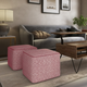 Simpli Home Brynn Transitional Square Pouf in Patterned Maroon and Natural Cotton