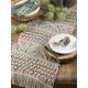 Saro Lifestyle Cotton Table Runner with Macramé Design