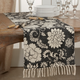 Saro Lifestyle Fringed 16x72 Table Runner with Floral Design