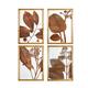 Creative Co-Op Wood Framed Orange Botanical Wall Decor (Set of 4 Designs)