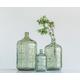 Large Green Vintage Glass Bottle with Embossed Design