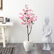 4.5' Cherry Blossom Artificial Tree in White Planter