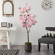5.5' Cherry Blossom Artificial Tree in Ribbed Metal Planter