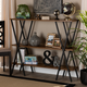 Norton Walnut Brown Finished Wood and Black Finished Metal Console Table