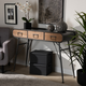 Santo Industrial Black Metal and Oak Brown Finished Wood 3-Drawer Entryway Console Table