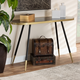 Lauro Black Faux Marble and Two-Tone Gold and Black Metal Console Table