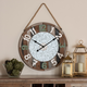 Baxton Studio Garrison Vintage Farmhouse Silver Metal and Multicolored Wood Wall Clock