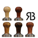 Reg Barber Polished Wood Tamper Handle with Stainless Steel Base