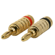 1 PAIR OF High-Quality Gold Plated Speaker Banana Plugs, Closed Screw Type
