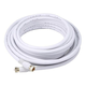 25ft RG6 (18AWG) 75Ohm, Quad Shield, CL2 Coaxial Cable with F Type Connector - White