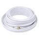 50ft RG6 (18AWG) 75Ohm, Quad Shield, CL2 Coaxial Cable with F Type Connector - White