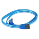 24in SATA 6Gbps Cable with Locking Latch, 90-Degree to 180-Degree, UV Blue