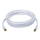 15ft RG6 (18AWG) 75Ohm, Quad Shield, CL2 Coaxial Cable with F Type Connector - White