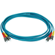 10Gb Fiber Optic Cable, ST/ST, Multi Mode, Duplex - 3 Meter (50/125 Type) - Aqua
