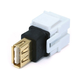 Keystone Jack - USB 2.0 A Female to A Female Coupler Adapter, Flush Type (White)
