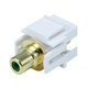 Keystone Jack - Modular RCA w/Green Center, Flush Type (White)