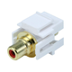 Keystone Jack - Modular RCA w/Red Center, Flush Type (White)