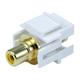 Keystone Jack - Modular RCA w/Yellow Center, Flush Type (White)