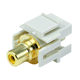 Keystone Jack - Modular RCA w/Yellow Center, Flush Type (Ivory)
