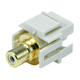 Keystone Jack - Modular RCA w/White Center, Flush Type (Ivory)