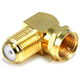 F Type Right Angle Female to Male Adapter - Gold Plated
