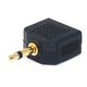 3.5mm Mono Plug to 2 x 3.5mm Mono Jack Splitter Adapter - Gold Plated