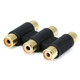 3x RCA Jack to 3x RCA Jack Adapter, Gold Plated