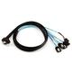 1m 28AWG Internal Mini SAS 36pin (SFF-8087) Male (90 Degree) to SATA 7pin Female w/ Latch (x4) Forward Breakout Cable - Black