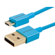 Premium USB to Micro USB Charge & Sync Cable 0.5ft - Blue