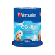 Verbatim CD-R 700MB 52X with Blank White Surface - 100pk Spindle - TAA Compliant