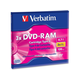 Verbatim DVD-RAM 4.7GB 3X Single Sided, Type 4 with Branded Surface - 1pk with Cartridge - TAA Compliant