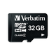 Verbatim 32GB MicroSDHC Memory Card with Adapter, Class 4 - Class 4 - 1 Card/1 Pack
