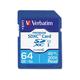 Verbatim 64GB Premium SDXC Memory Card, UHS-I Class 10 - TAA Compliant - Class 10/UHS-I (U1) - 45 MB/s Read1 Pack - 300x Memory Speed